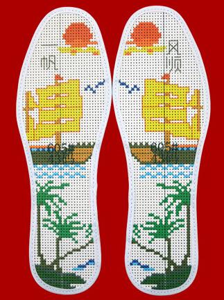 鞋垫花样图案大全51种十字绣鞋垫 - 鸿运玫瑰 - 十字绣鞋垫